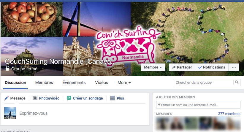 Groupe Facebook Couchsurfing Normandie